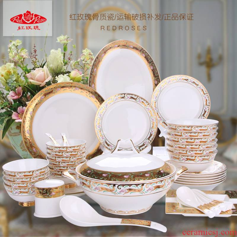 Tang Shanhong rose lead - free ipads China tableware ceramic dish plate combination of Europe type style suits for the Mid - Autumn festival