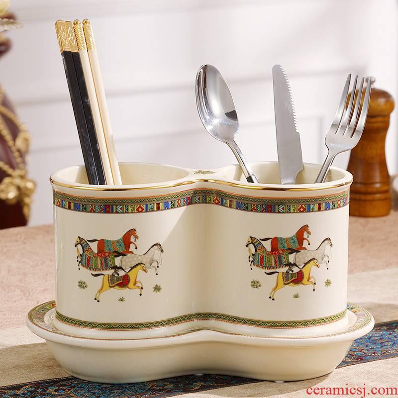 European ceramic binocular chopsticks chopsticks tube mildew drop box to receive cage shelf kitchen utensils cage frame suits for
