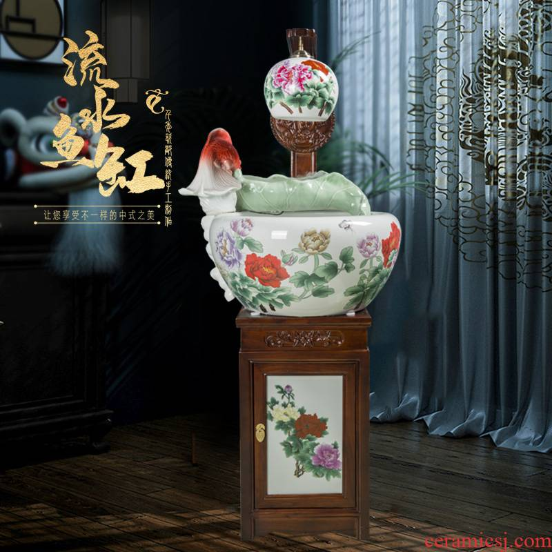 Art spirit of jingdezhen ceramic aquarium tank circulation water filter and oxygen goldfish bowl sitting room the tortoise cylinder aquarium