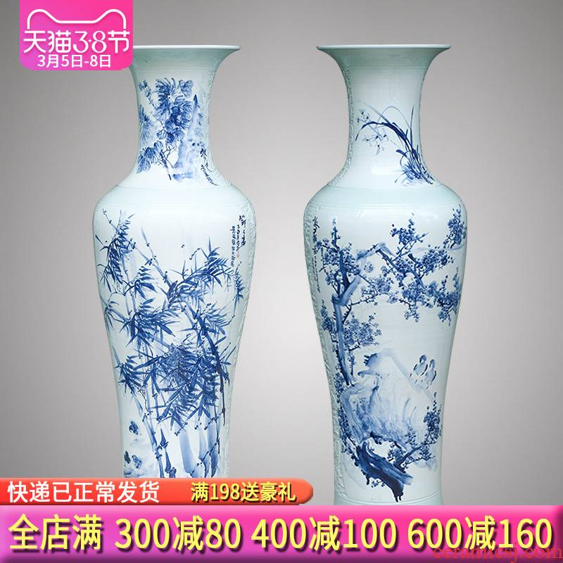 Jingdezhen blue and white ceramics hand - made the by patterns of large vases, Chinese style living room TV cabinet furnishing articles