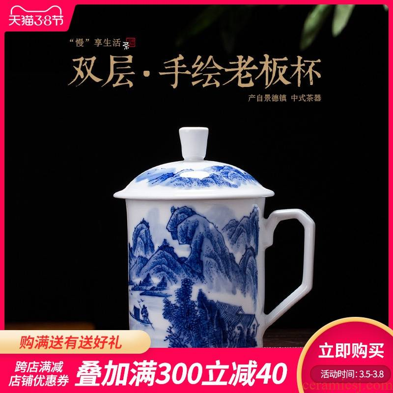 Is rhyme of jingdezhen ceramic cups office boss make tea cup under the hand - made porcelain glaze color double male new cup