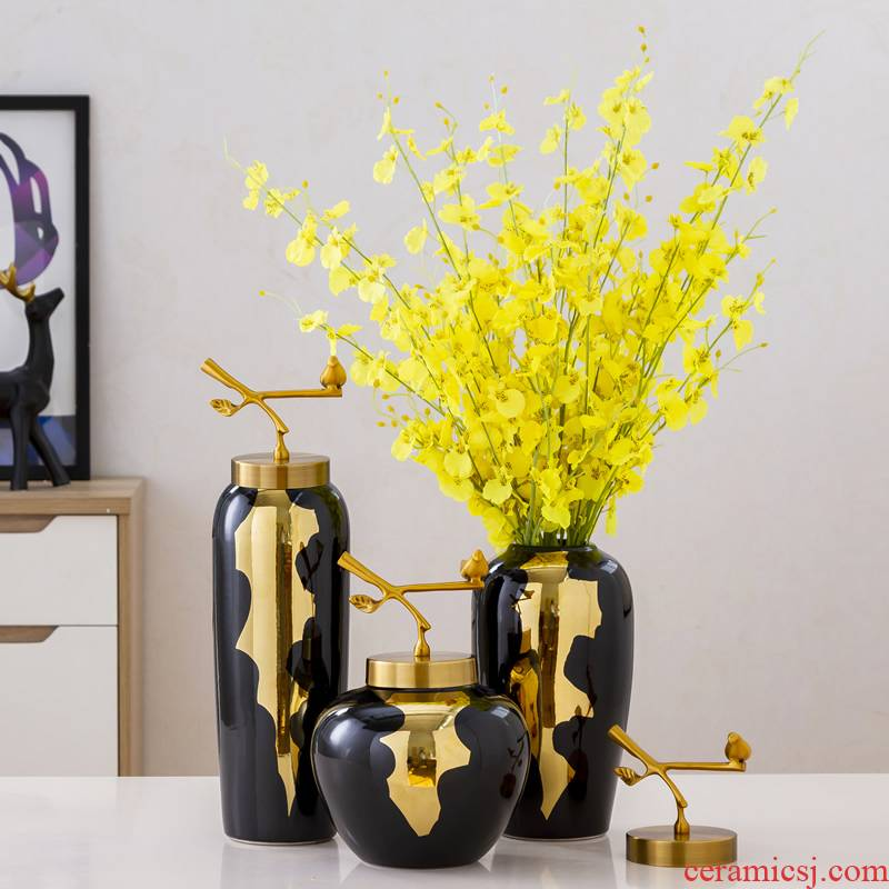 Light European - style key-2 luxury furnishing articles ceramic vase sitting room dried flowers flower arrangement of new Chinese style household act the role ofing is tasted with copper table decoration