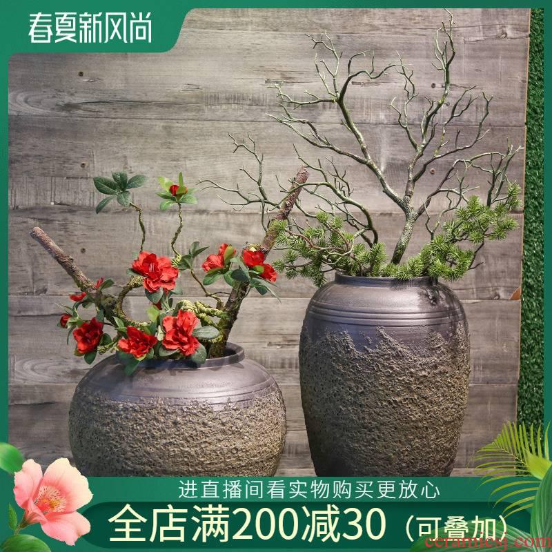 Jingdezhen ceramic coarse pottery vase furnishing articles mesa adornment restoring ancient ways between example villa simulation flower flower flower art