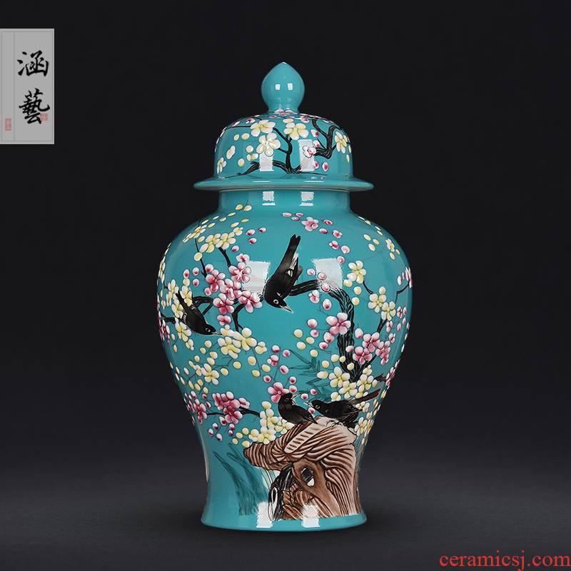 Jingdezhen ceramics powder enamel handpainted xi mei tip on the general tank treasures sitting room home decoration handicraft furnishing articles