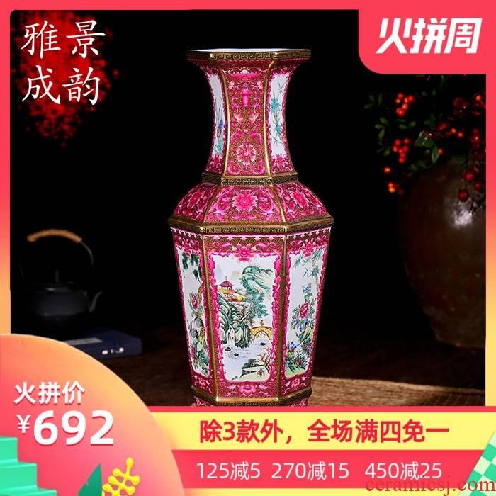 Jingdezhen ceramic flower arranging European archaize guanyao fashion vase and furnishing articles move sitting room landing crafts
