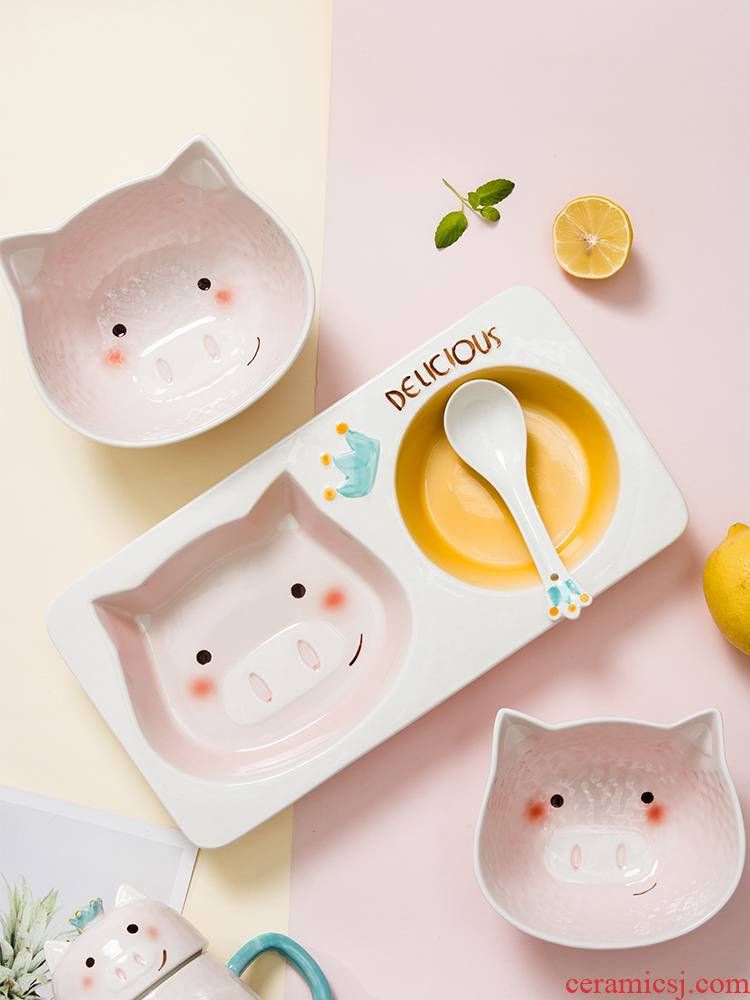 Boss on McDull pig ceramic dishes and lovely rainbow such as bowl with cover mercifully household suit children 's breakfast frame plate
