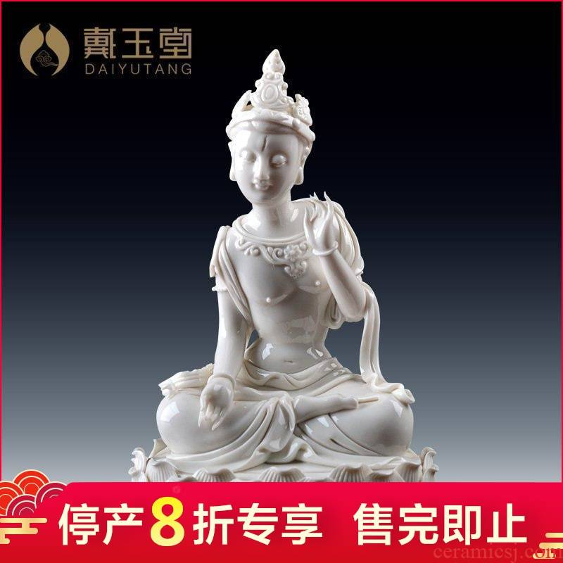 Dehua white porcelain porcelain carving handicraft production is pulled from the shelves 】 【 ROM statute of a bodhisattva