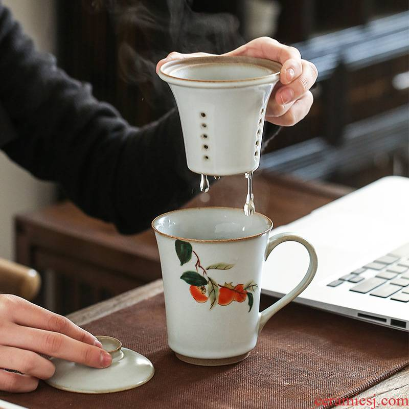 Earth story persimmon persimmon ruyi famille rose porcelain jingdezhen your up on personal office cups with cover filter