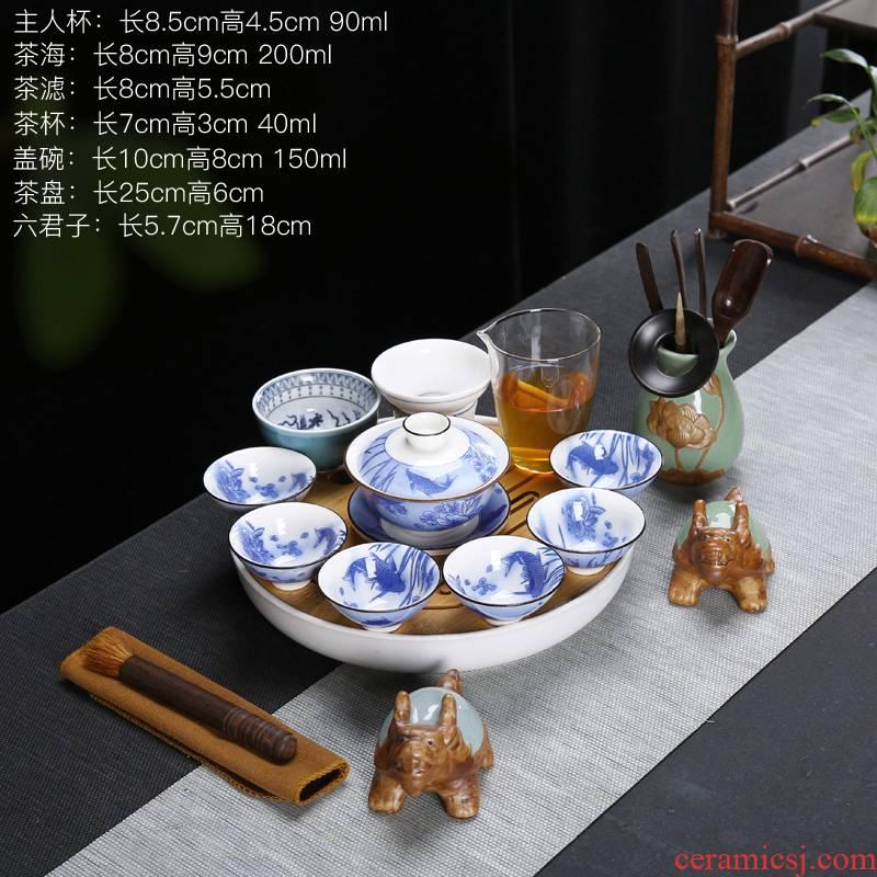 Suet jade porcelain kung fu tea set a complete set of full color restoring ancient ways of make tea tea tureen teapot teacup household ceramics