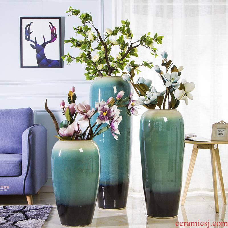 Jingdezhen ceramic vase club flower arranging furnishing articles landing large hotel villa living room decoration simple pottery decoration
