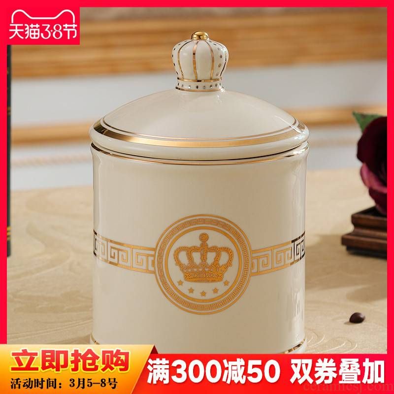 European creative storage tank candy jar moistureproof ceramic snack receive a can of home furnishing articles