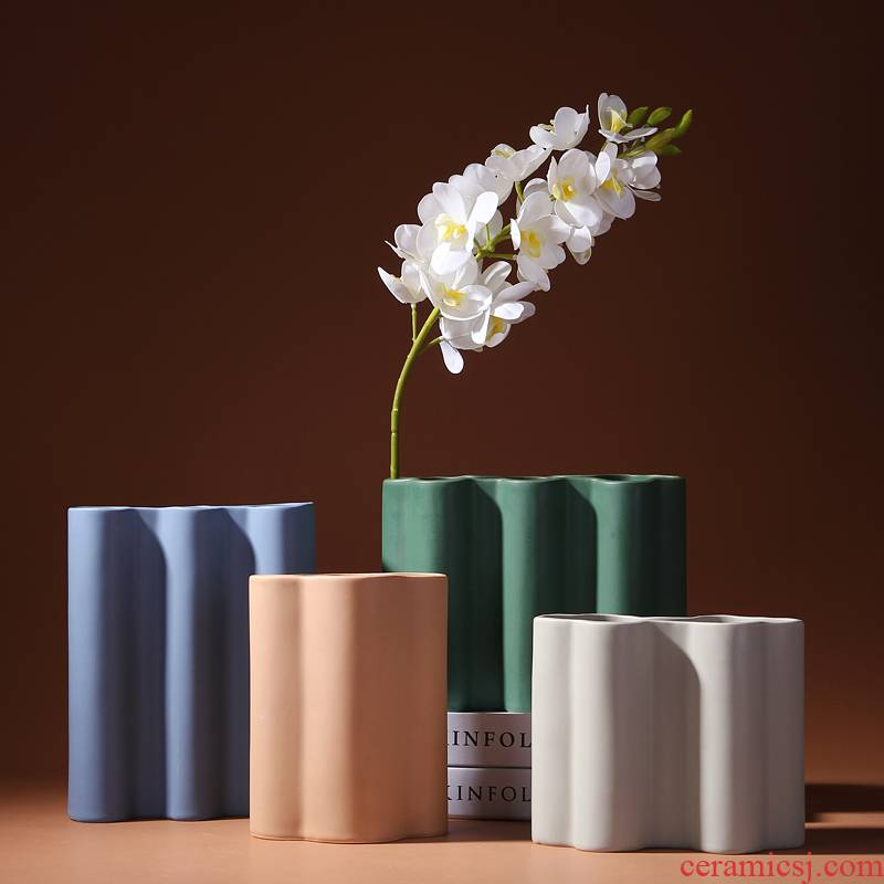 Nordic light ceramic vase mesa key-2 luxury morandi color I and contracted sitting room flower arranging place flowerpot table decoration