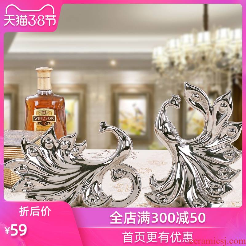 Household act the role ofing is tasted ceramic crafts home living room TV cabinet furnishing articles creative ornaments of gold and silver phoenix