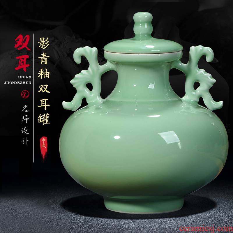 Jingdezhen ceramics craft archaize shadow blue glaze ears storage tank with cover of new Chinese style household adornment furnishing articles