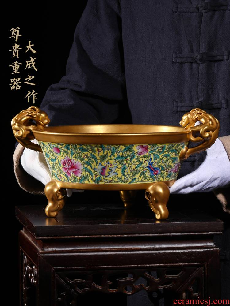 Jia lage jingdezhen ceramic furnishing articles YangShiQi hand - made to plated with gold yellow cornucopia of feng shui furnishing articles at home