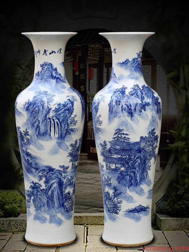 Jingdezhen blue and white porcelain hand - made yunshan xiufeng sitting room of large vase household ceramics furnishing articles store decoration