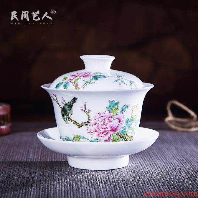 Jingdezhen ceramic hand - made pastel tureen kung fu tea set three cups to use hand catch bowl of tea to tea cups