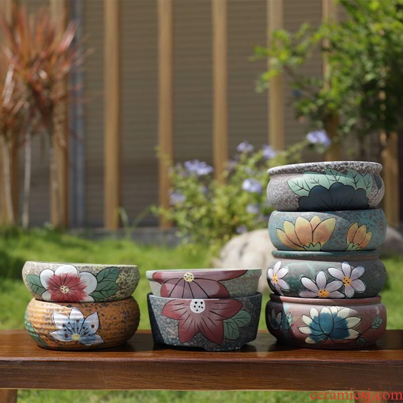 Fleshy large - diameter pot special color bag mail, coarse pottery large platter flowerpot Korean rural wind flower pot clearance