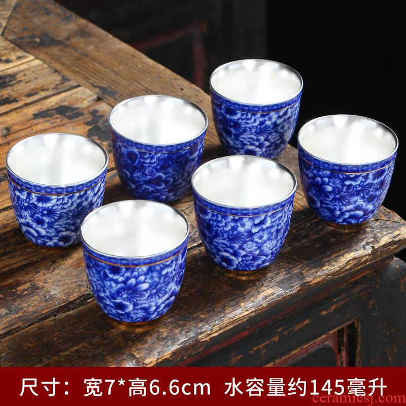 Ceramic kung fu noggin suit household blue and white celadon bowl sample tea cup cup master cup tea restoring ancient ways