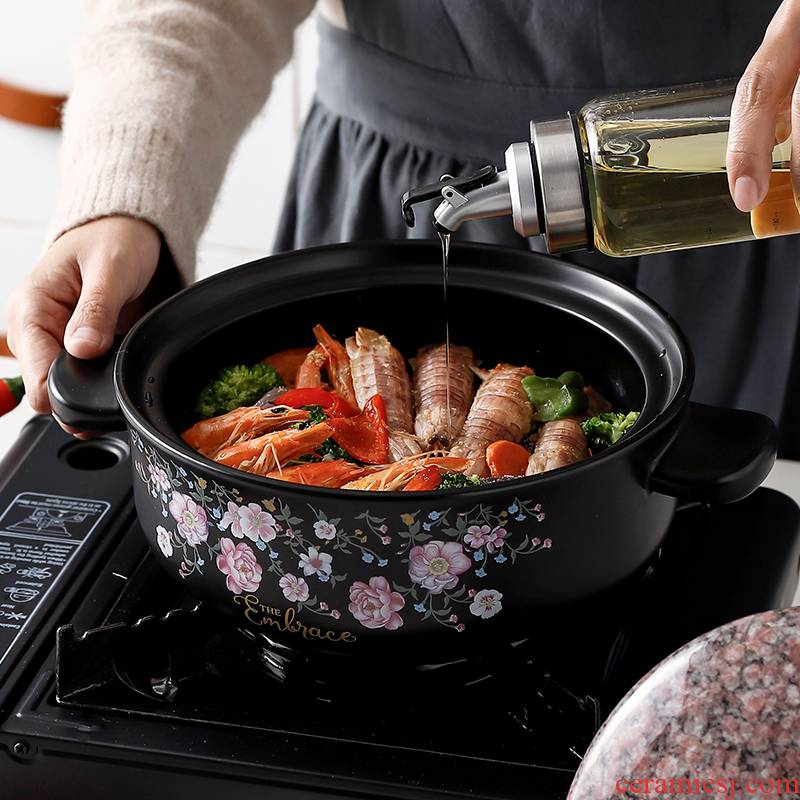 Casserole stew of household ceramic Casserole soup pot soup flame to hold to high temperature gas pot stone bowl size capacity