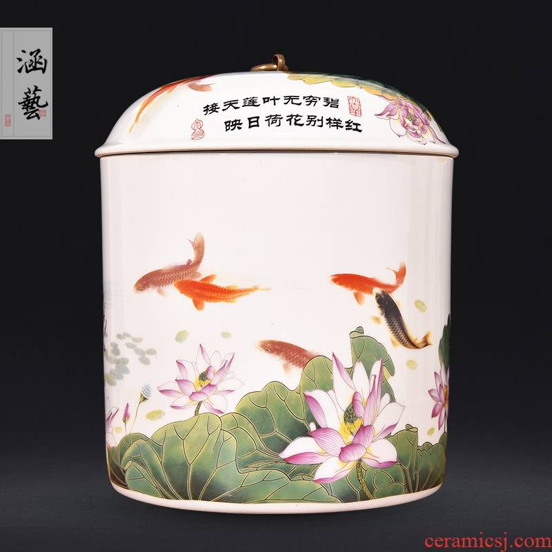 Jingdezhen ceramic tea pot every year more than bread puer tea tea cylinder storage jar sealed as cans of household