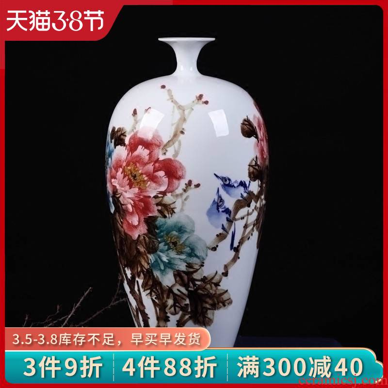 Jingdezhen ceramics vase lrene hand - made glaze peony under large new Chinese style household, sitting room porch place