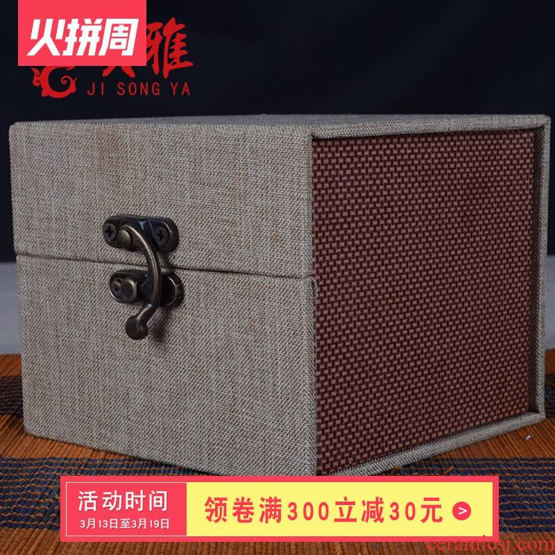 Tea packaging box JinHe single CPU to restore ancient ways of purple sand cup gift porcelain box gift box cotton and linen cloth