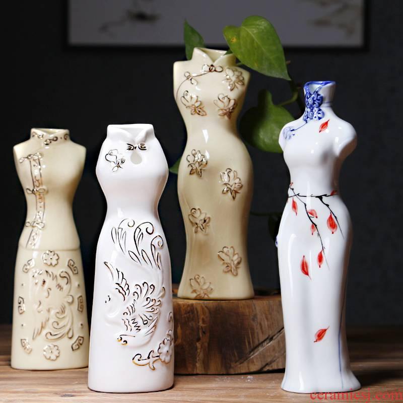 Creative other hydroponic plant ceramic cheongsam flower vases, flower arrangement container flower pot ware desktop decoration furnishing articles