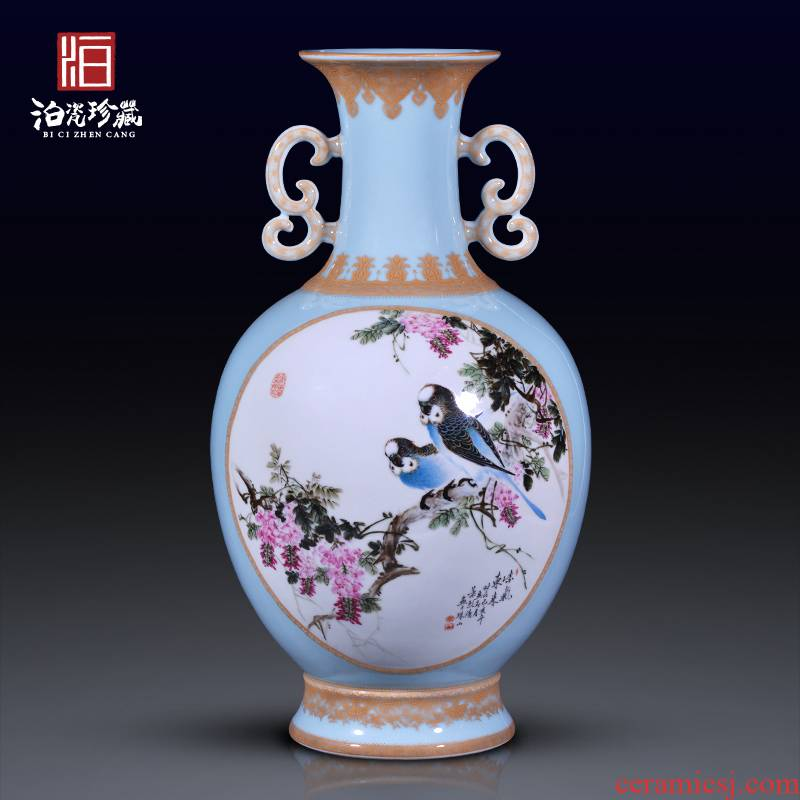 Jingdezhen ceramic hand - made flowers and birds ears vase study of new Chinese style household decorates sitting room collection flower arranging furnishing articles