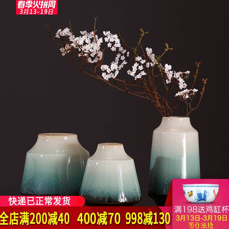 Three - piece suit modern new Chinese style restoring ancient ways is the sitting room home decoration vase furnishing articles of jingdezhen ceramics handicraft