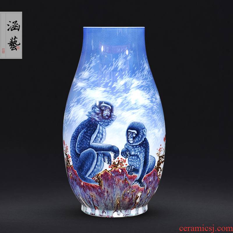 Jingdezhen ceramics hand - made seal hou figure ground of blue and white porcelain vase of new Chinese style living room home furnishing articles of handicraft