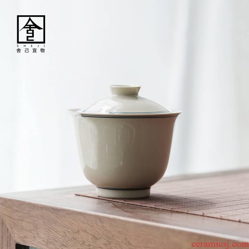 Jingdezhen what earth bowl is pure manual only three tureen tea cup single GaiWanCha ceramic kunfu tea