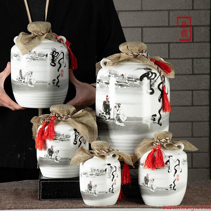 An empty bottle of jingdezhen ceramic seal 1/2/3/5/10 in jin Chinese bulk wine jug of wine canned wine