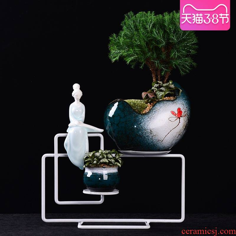 Ceramic flower POTS, wrought iron flower combination potted desktop creative furnishing articles, miniascape zen small basin of pure and fresh green plant more meat
