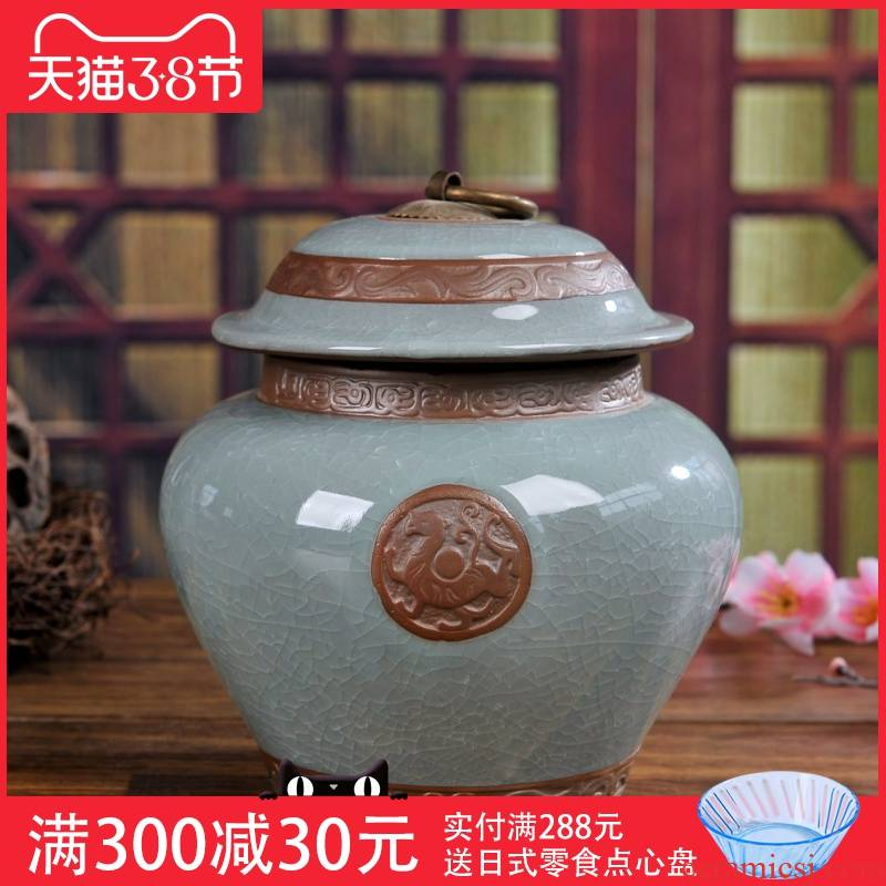 Jingdezhen calving violet arenaceous sealed container storage caddy fixings medicine Chinese traditional medicine to receive tank tea accessories loose tea boxes