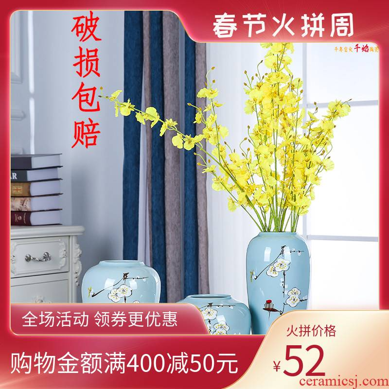 Jingdezhen ceramics vase furnishing articles of modern Chinese style living room TV cabinet lucky bamboo dried flowers flower arrangement home decoration