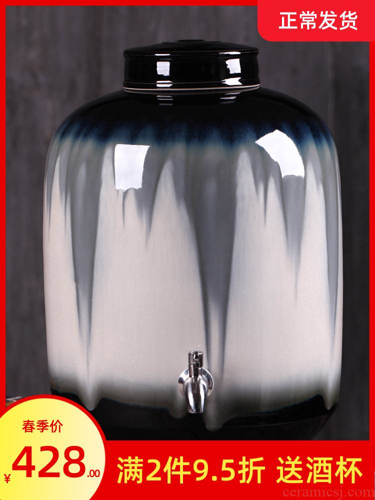Jingdezhen up jars color glaze household seal it 15 pounds 25 kg pack mercifully hip flask wine bottle is empty as cans