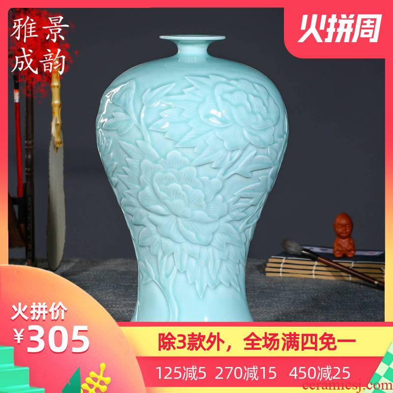 Jingdezhen ceramics flower vase creative flower implement the sitting room of Chinese style household soft adornment furnishing articles northern Europe