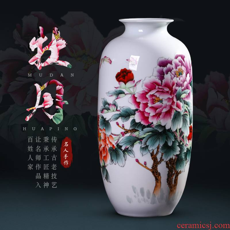 Master hand - made famille rose blooming flowers, vases, new Chinese style living room TV ark adornment of jingdezhen ceramics furnishing articles