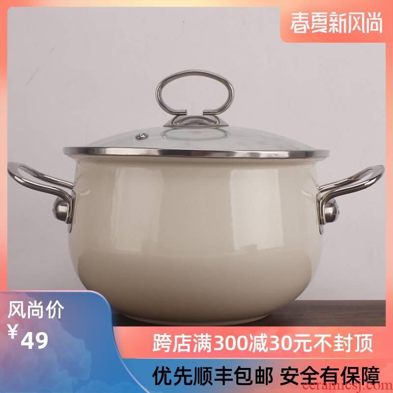 Good enamel enamel deepen thick stew cooking pot soup pot food home kitchen pot induction cooker open flame