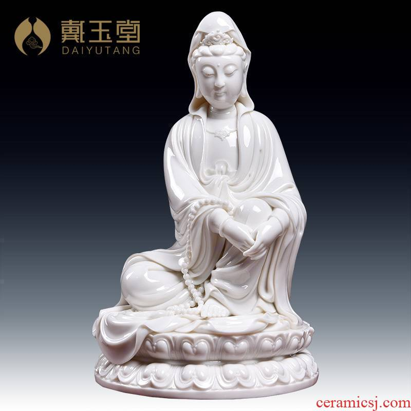 Yutang dai dehua white porcelain ceramic art of figure of Buddha master Lin Jiansheng works GuLian guanyin/D03-127