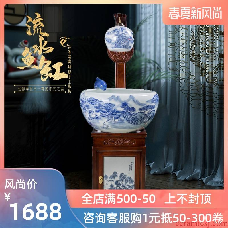 Blue and white contracted jingdezhen ceramic tank - oxygen circulation filter tank porcelain jar goldfish bowl sitting room adornment
