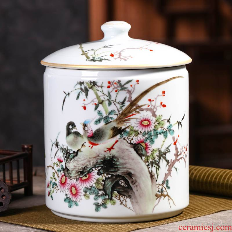 Jingdezhen porcelain tea pot, storage tank is the seventh, peulthai the large - sized ceramic jar with cover seal pot moistureproof puer tea cake