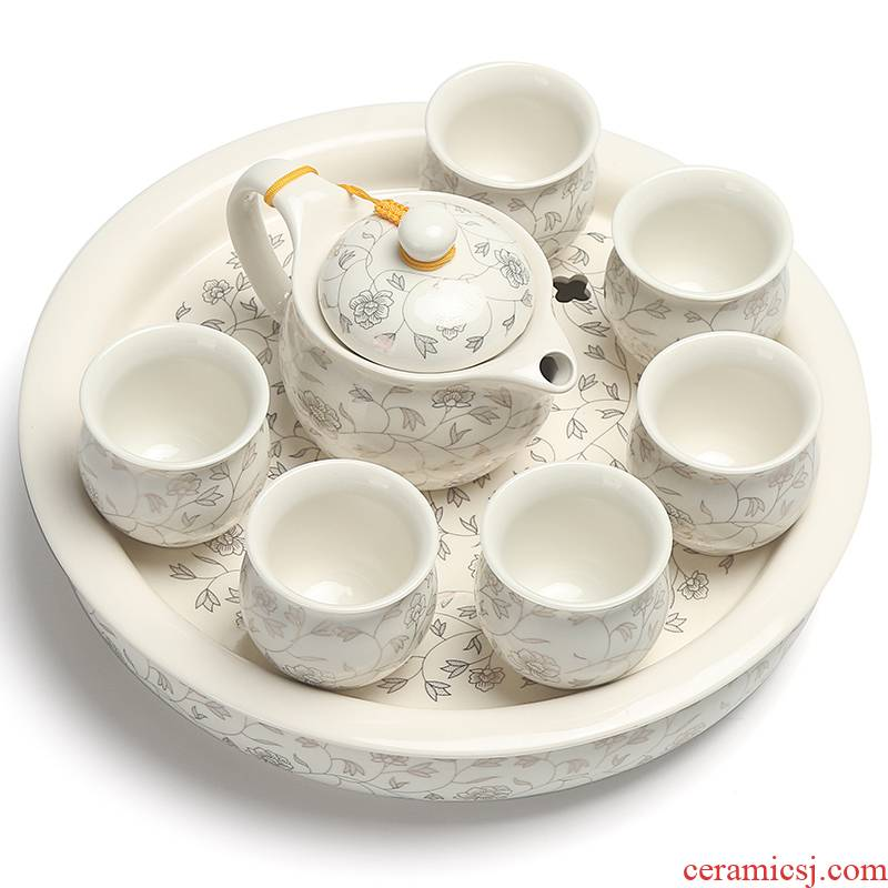 Really hold large heat insulation prevent hot double teapot teacup ceramic tea set a complete set of kung fu tea tray