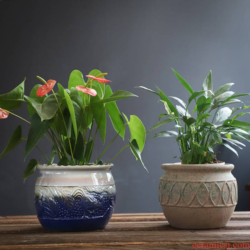 Fleshy flowerpot ceramic creative coarse pottery large flower pot move flowerpot pack mail special offer extra large breathable basin clearance