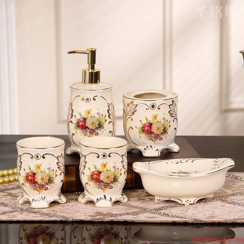 Fort SAN road European - style decorative bathroom furnishing articles set creative ceramic sanitary ware has five for wash gargle suit wedding gift bag in the mail