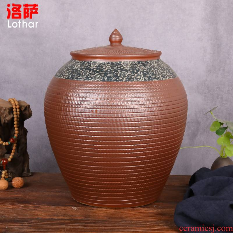 Ceramic barrel with cover coarse pottery household moistureproof ricer box basin surface water cylinder kimchi storage tank bin
