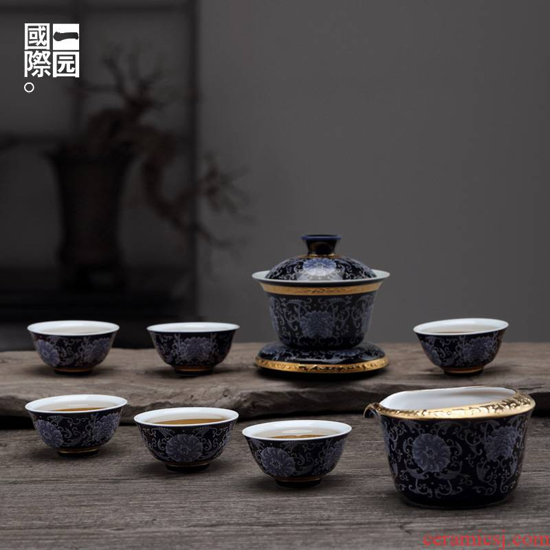 A garden international household utensils suit ceramic kung fu tea set gift box of A complete set of tureen the set of 6 people