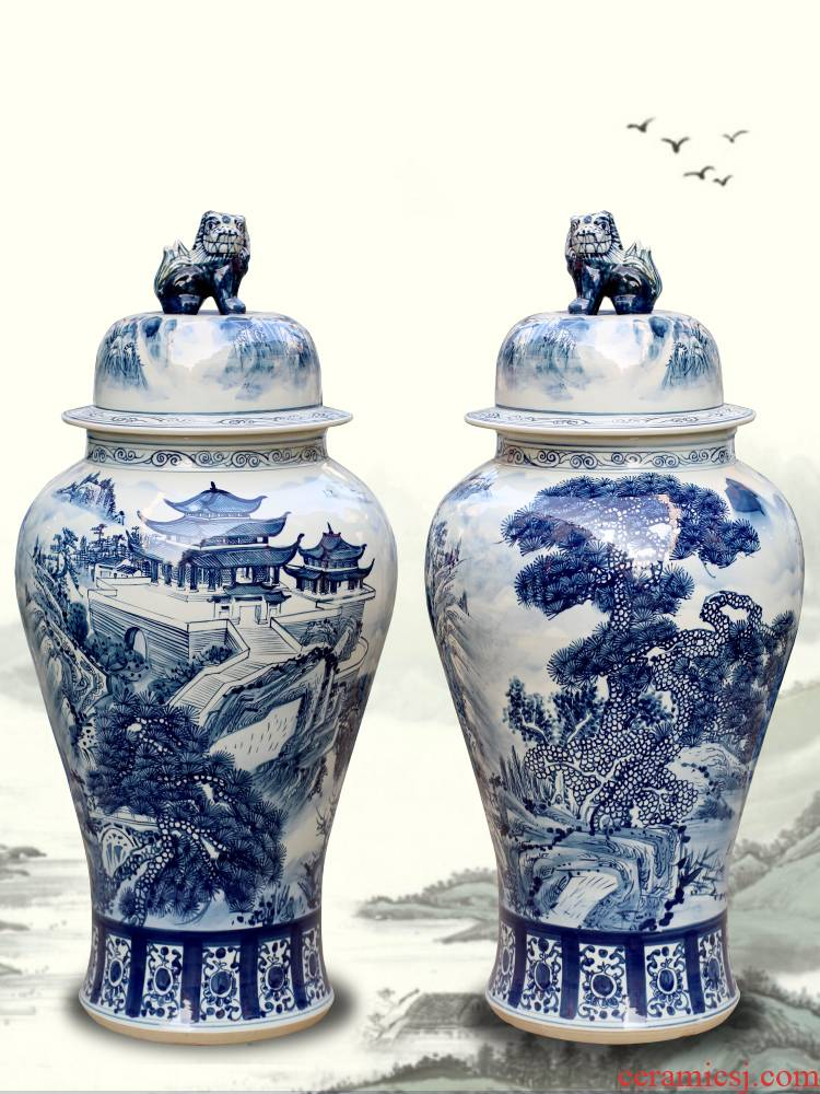 Jingdezhen ceramic general blue and white porcelain pot landscape furnishing articles the receive the study decorate the sitting room porch Chinese vessels