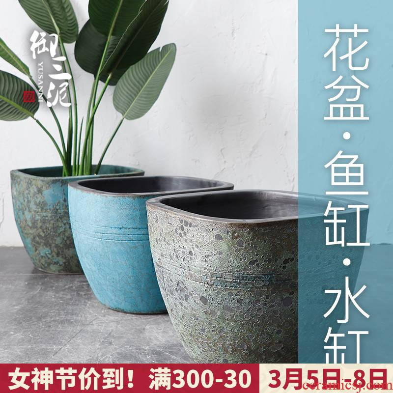 Restore ancient ways of archaize ceramic VAT coarse pottery hand round the altar tank big flowerpot tank floor furnishing articles courtyard garden